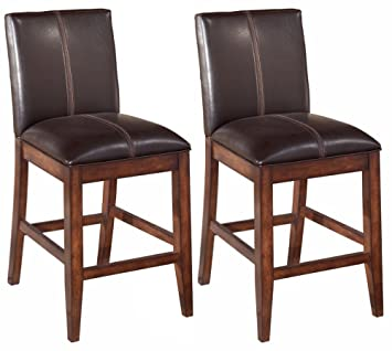 Phenomenal Ashley Furniture Signature Design Larchmont Barstool Set Counter Height Upholstered Vintage Casual Set Of 2 Burnished Dark Brown Ncnpc Chair Design For Home Ncnpcorg