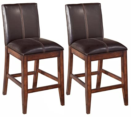 Ashley Furniture Signature Design   Larchmont Barstool Set   Counter Height    Upholstered   Vintage Casual