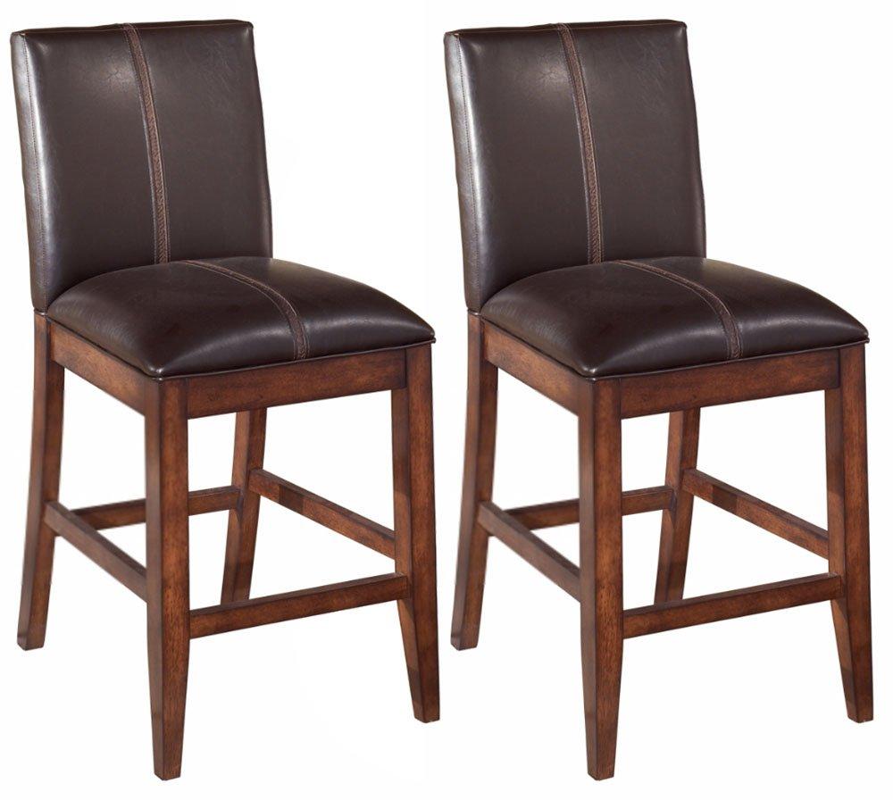 Ashley Furniture Signature Design - Larchmont Barstool Set - Counter Height - Upholstered - Vintage Casual - Set of 2 - Burnished Dark Brown