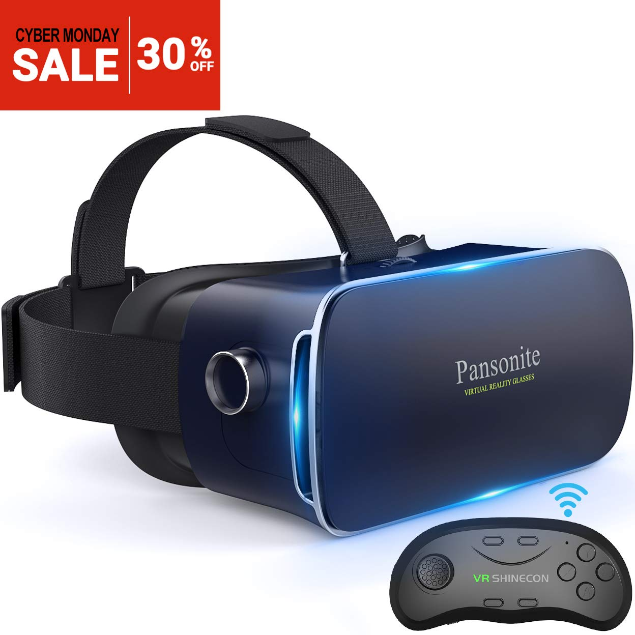 Pansonite 3D VR Glasses Virtual Reality Headset for Games & 3D Movies, Lightweight with Adjustable Pupil and Object Distance for iOS and Android Smartphone (Dark Blue with Controller) 6097771030576