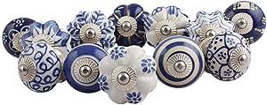 IndianShelf Handmade Assorted Pack of 15 Blue Knobs Floral Handles Ceramic Cabinet Pulls Online Designer