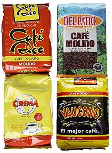 Puerto Rican Variety Pack Ground Coffee - 4 Local Favorites in 8 Ounce Bags V.3 (2 Pound Total) Includes 2 Envelopes Of Sason Accent