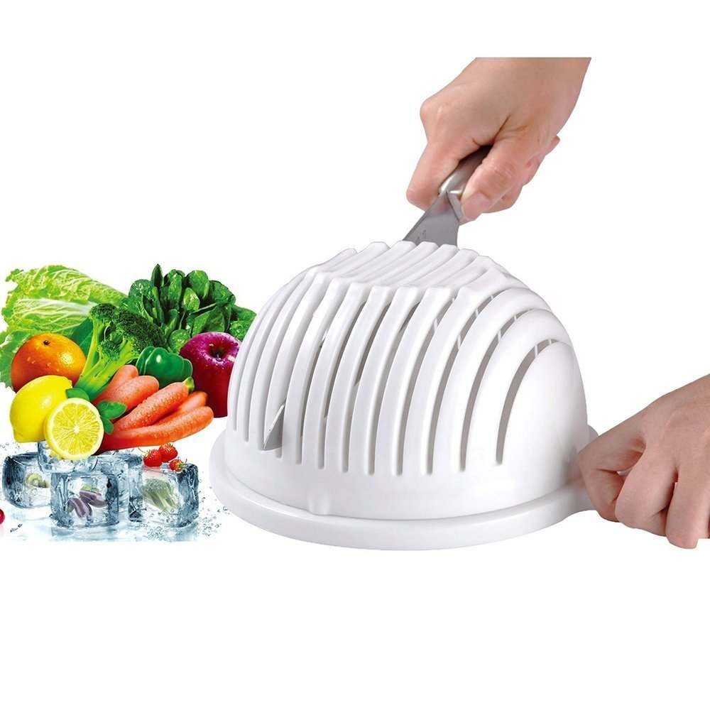 Salad Cutter Bowl - Kaimao 3 in 1 Multifunctional Vegetable Fruit Chopper Spinner and Filter 60 Seconds Salad Maker (White)