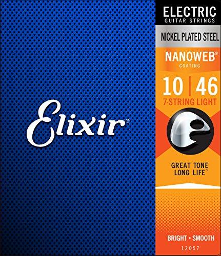 Elixir Strings 7-String Electric Guitar Strings w NANOWEB Coating, Light (.010-.056)