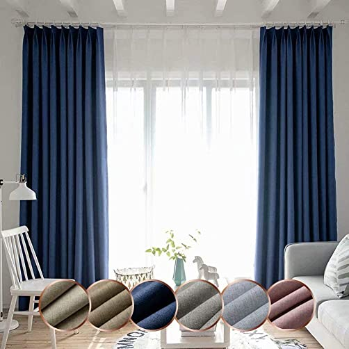 Leadtimes Linen Blackout Curtains 96 Inches Long Grommet Light Blocking Divider Window Treatment