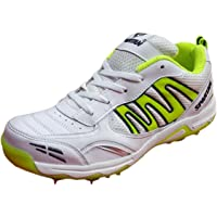 SPARTAN Extreme 2018 White Green Cricket Spikes Shoes