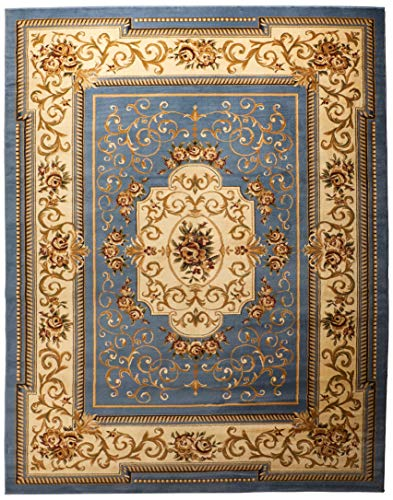 (Home Must Haves Area Huge Blowout Sale French Design Rug Light Blue Medallion Carpet Floral, ((8' x 10') Feet, )