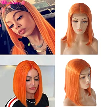 Amazon.com   Short Orange Bob Wig Lace Front Wigs Baby Hair Pre-Plucked  Human Hair Remy Brazilian Straight Wig Human hair 180% Density For Woman  (10 Inch)   ... 7a15d0e19
