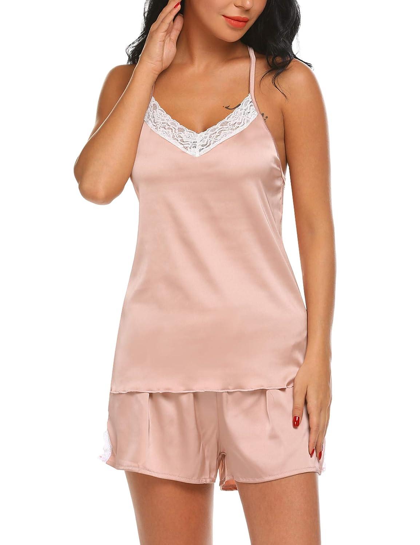 Hotouch Satin Pajamas Set Womens Lace Trim V Neck Cami Shorts 2PC Sleepwear Set