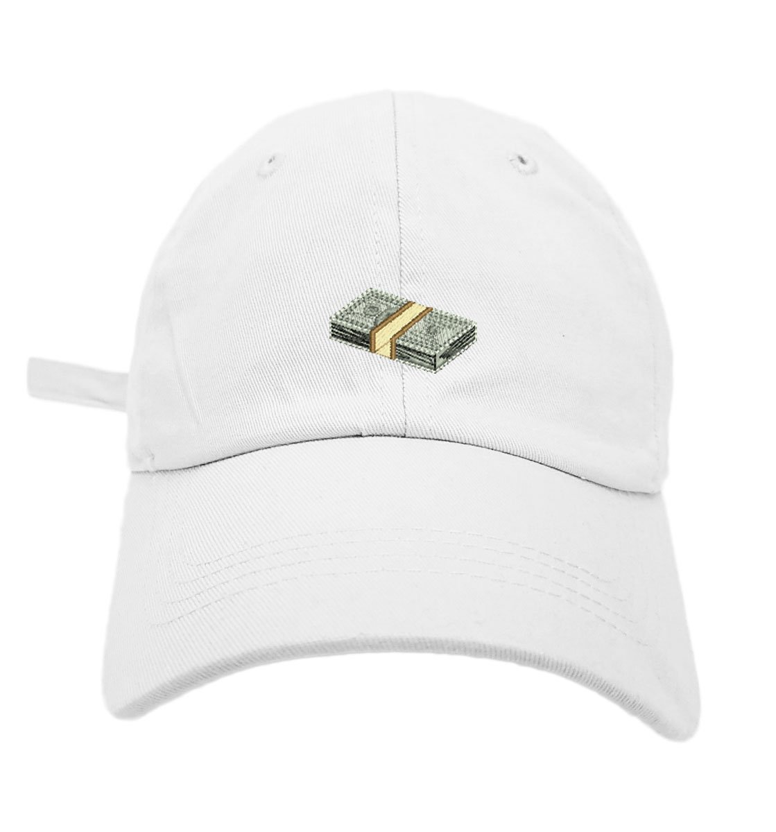 TheMonsta Money Style Dad Hat Washed Cotton Polo Baseball Cap (White)