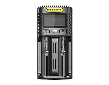 Nitecore UMS2 - Cargador de Pilas Recargables USB Universal Carga Rápida - Li-Ion/Ni-MH/Ni-Cd/IMR 26650 22650 21700 20700 18650 18490 18350 17670 ...