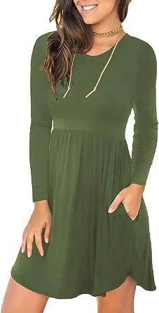 LONGYUAN Women's Long Sleeve Casual T Shirt Dresses Swing Dress with Pockets