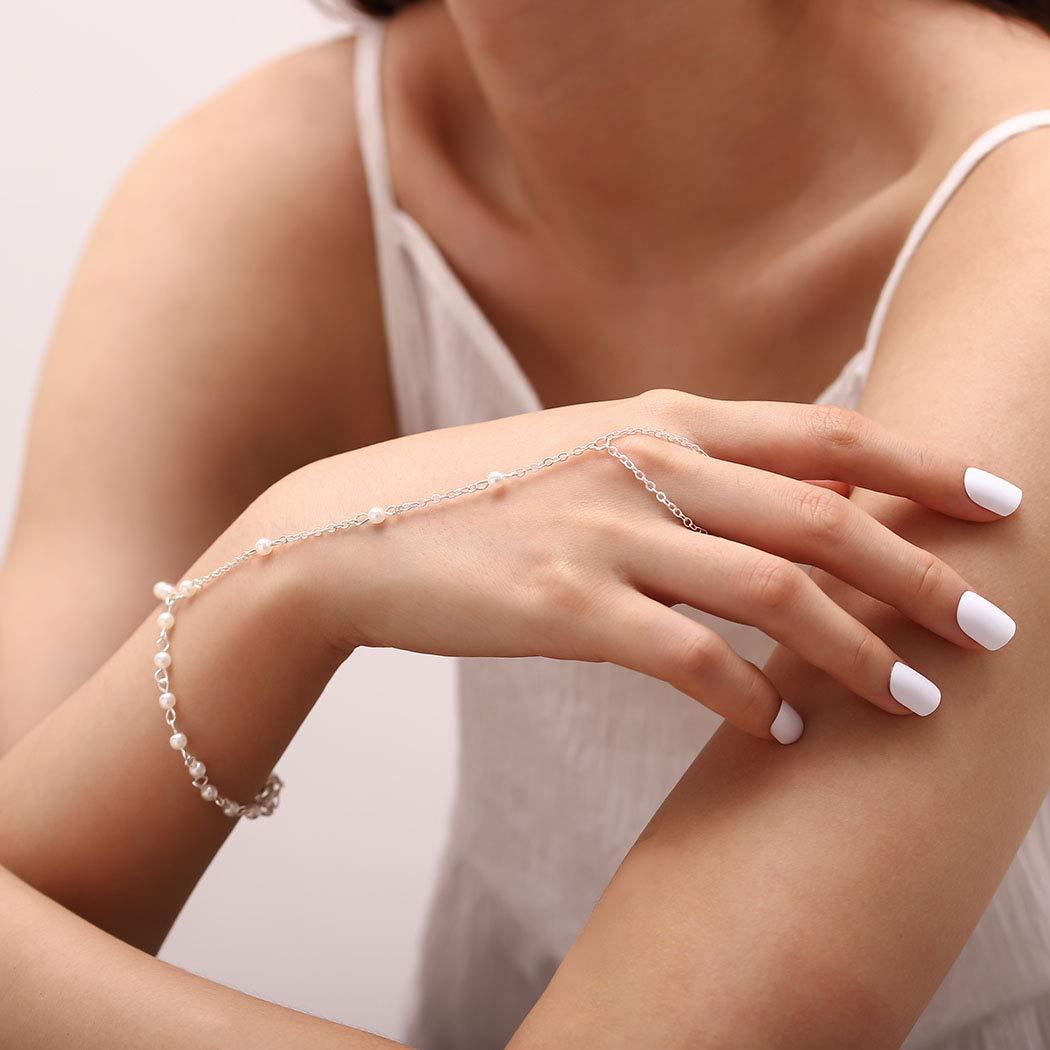 Ring bracelet Hand bracelet Finger bracelet Copper polymer clay slave bracelet Hand jewelry 774bm Bracelet ring Hand finger jewelry