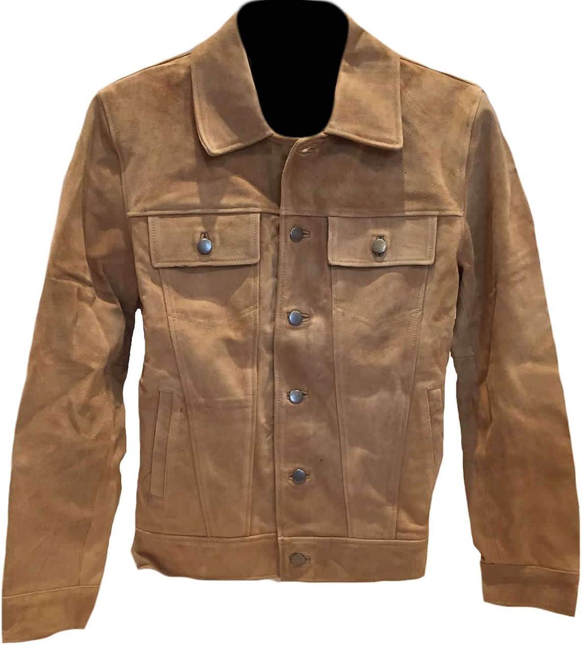 SleekHides Mens Fashion Suede Leather Buttoned Coat
