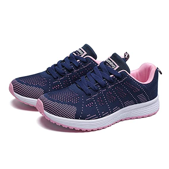 Zapatillas De Deportivos De Mujer Para Correr De Malla Transpirable Ligero Fitness Plataforma Sneakers Con Cordones Calzado Zapatillas Aptitud: Amazon.es: ...