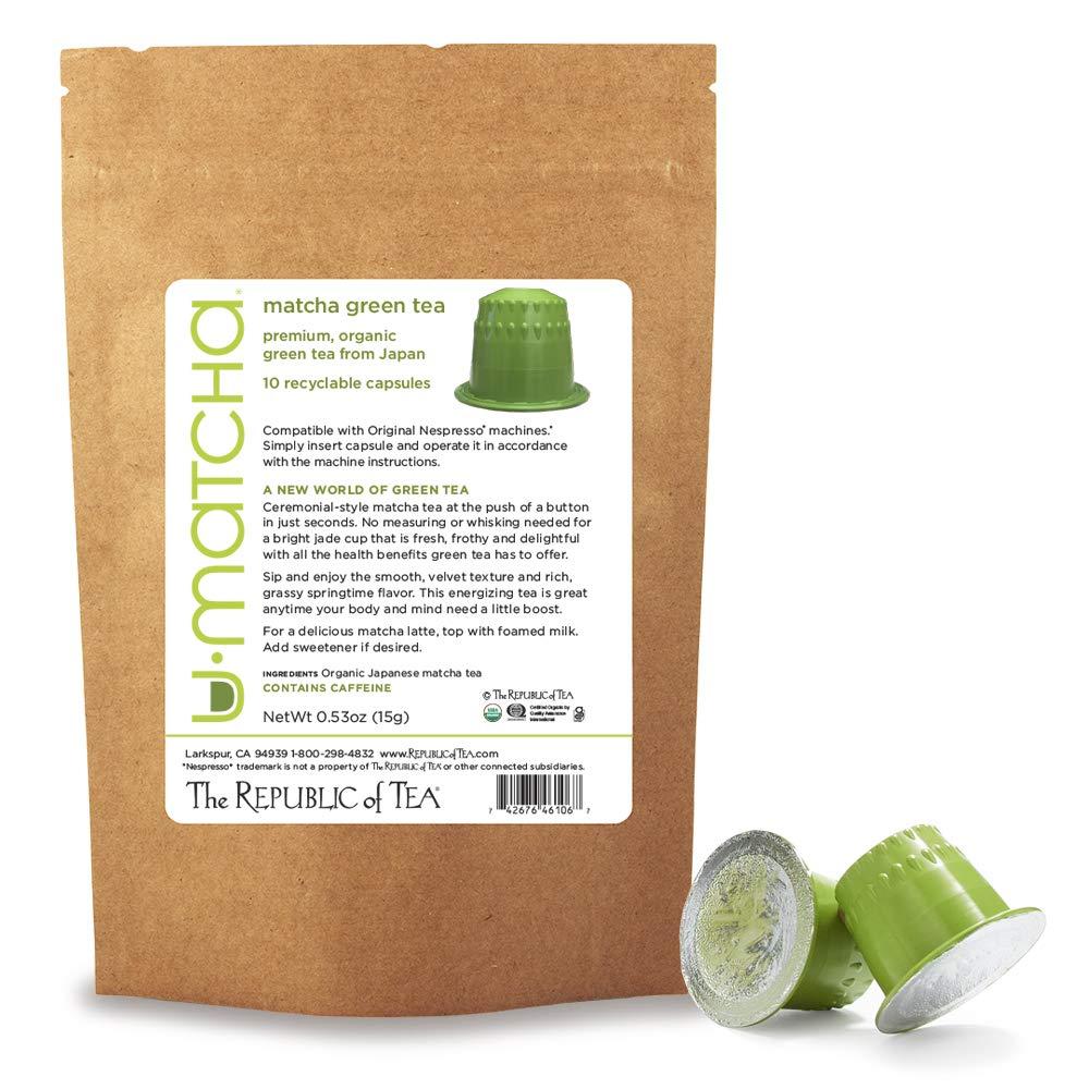 The Republic of Tea Organic U•Matcha Green Tea Nespresso-Compatible Recyclable Capsules (10 count)