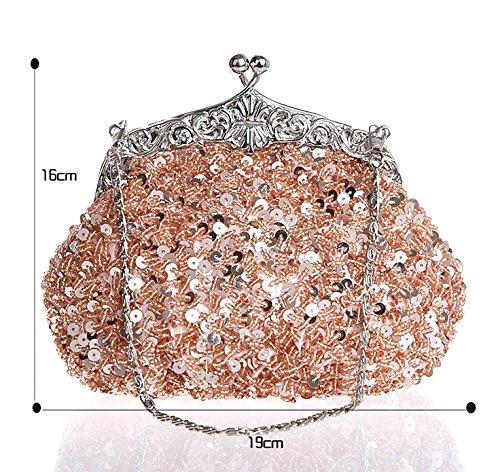 Clutch Bridal Party Beaded Women' Handmade Wedding Handbag Sequins Bag ZAKIA Shoulder Champagne for qTSUwxgq