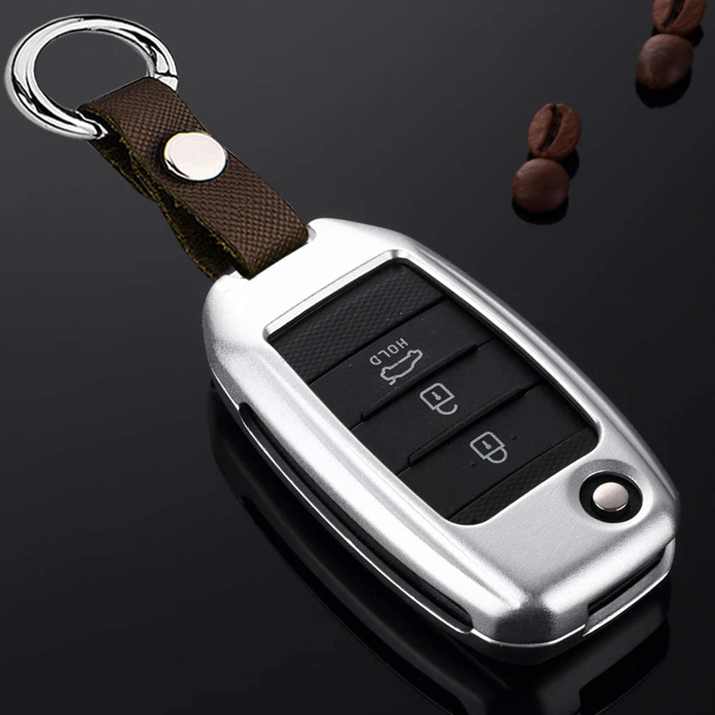 Silver Aluminum Metal Car Key Case Shell Cover with Key Chain for ...