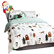 BuLuTu Siberia Forest Theme Boys Duvet Cover Twin Cotton Darker White,Christmas Duvet Cover Set Kids,3 Pieces Bedding Collection Set(1 Duvet Cover + 2 Pillowcases) for US Single Bed,No Comforter