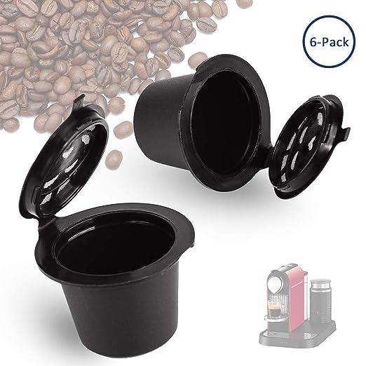 Cápsula de café reutilizable Cara, para cafetera Nespresso rellena, reutilizable, de plástico, de acero inoxidable, compatible con cafetera Nespresso, ...