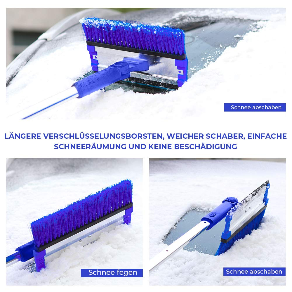 180 /° Schaum Schneeb/ürste mit Rakel JOYTUTUS 4 in 1 Auto Schneeb/ürste mit Eiskratzer Eisschaber Abnehmbar Schnee Pinsel max L/änge 1,20 m f/ür SUV Auto Truck LKW Bus Kleintransporter