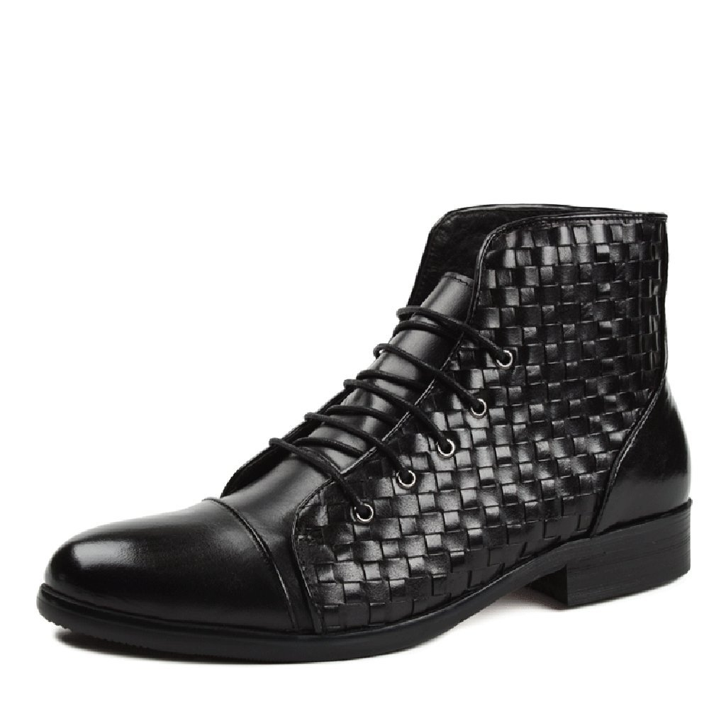 Herren Lederschuhe Herren Lederschuhe handgewebte britische Art Martin Armee Kurze Stiefel High-Top-Schuhe Herrenschuhe (Farbe   Schwarz, größe   EU37 UK4-4.5)