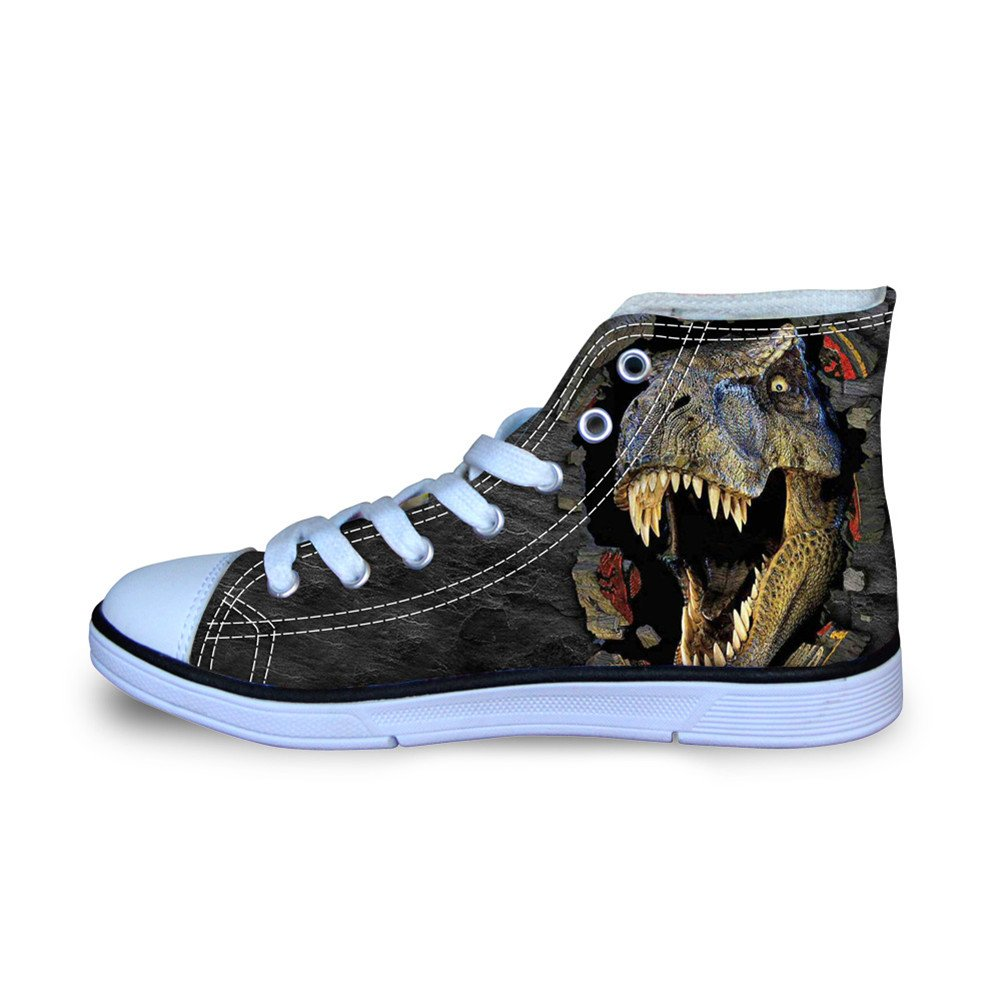HUGS IDEA 3D Dinosaur Printed Boys High Tip Canvas Shoes lace Up Running Sneakers