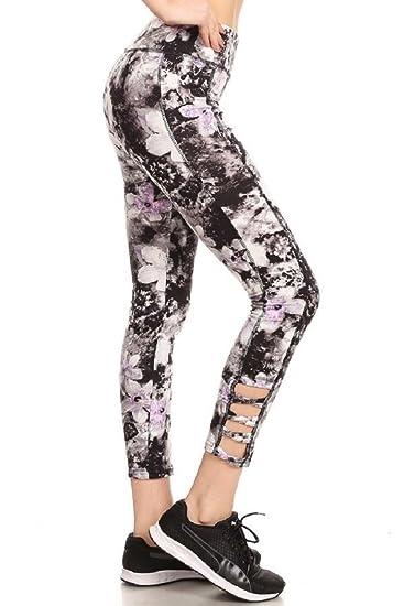 bc00bc71712063 ShoSho High Waist Daisey Print Legging (XL, Multi) at Amazon Women's  Clothing store: