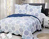 Disperse Printing Quilt Set Queen/Full Size(90''x90'' BLUE FLORENCIA) 3-Piece Bedspread Soft All-Season Luxury Microfiber Reversible Bedspread and Coverlet.