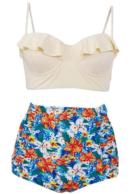Amazon.com: Generic Womens 2 Piece Swimsuits Floral Print Halter Bikini Set: Clothing