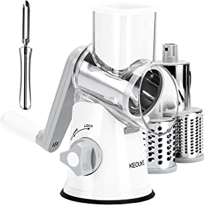 KEOUKE Vegetable Cheese Grater Slicer - Rotary Handheld Grater Shredder Grinder with a Stainless Steel Peeler (White)
