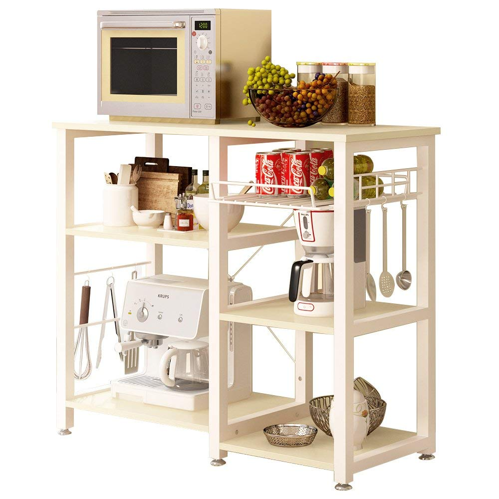 sogesfurniture 3-Tier Kitchen Baker's Rack Utility Shelf Microwave Stand with Storage and Drawer Storage Cart Workstation Shelf,White Maple BHUS-W5S-MO