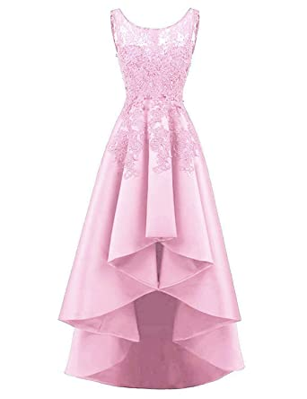 HelloLadyBridal Womens Hi-Lo Lace Appliques Prom Dresses Satin Evening Party Gowns Pink 2