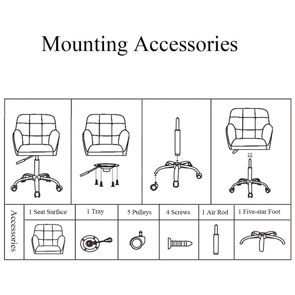 YLMF Ergonomiskt mode kontorsstol flanell hög densitet återstuds svamp hem kontor skrivbord stol justerbar höjd och fixerade armstöd nylon underlägg Mörkblått