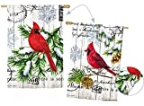 Evergreen Watercolor Winter Cardinal Suede House Flag, 28 x 44 inches