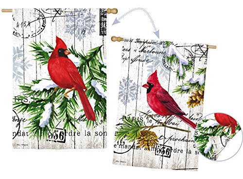 Evergreen Watercolor Winter Cardinal Suede House Flag, 28 x 44 inches For Sale