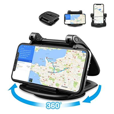 Car Phone Holder, Loncaster 360°Rotating Car Phone Mount, Silicone Dashboard Car Phone Holder [Easy Opening & Neat Folding] Compatible for iPhone, Android Smart Phones, GPS and More Devices [5Bkhe0100539]