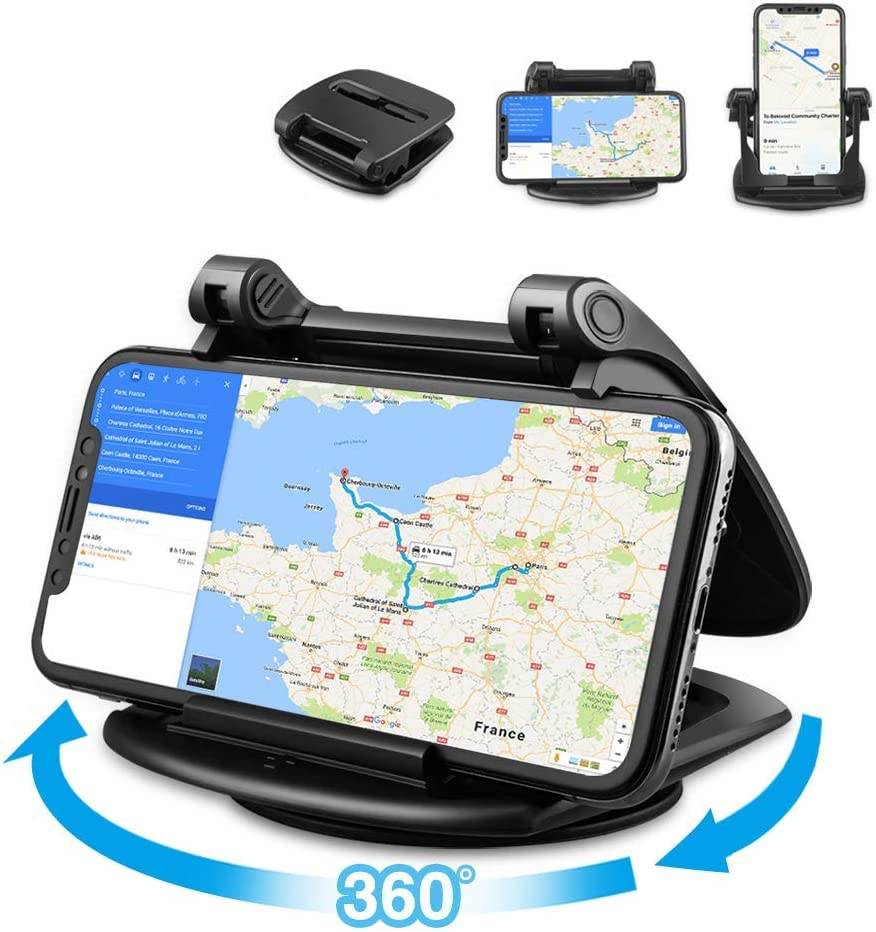 Car Phone Holder, Loncaster 360°Rotating Car Phone Mount, Silicone Dashboard Car Phone Holder [Easy Opening & Neat Folding] Compatible for iPhone, Android Smart Phones, GPS and More Devices