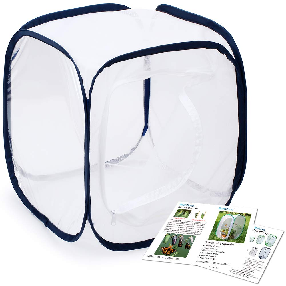 Restcloud Insect Butterfly Habitat Cage Terrarium - Pop-up 12 X 12 X 12 Inches (White + Black)