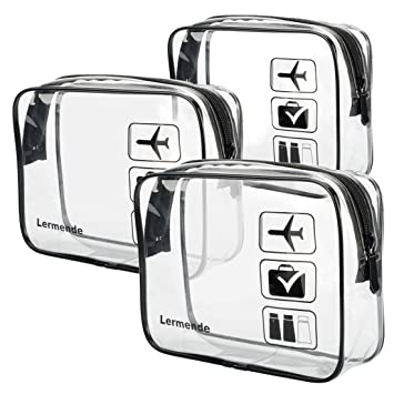 3pcs Lermende TSA Approved Toiletry Bag with Zipper Travel Luggage Pouch Carry On Clear Airport Airline Compliant Bag Travel Cosmetic Makeup Bags for Men Women - Black