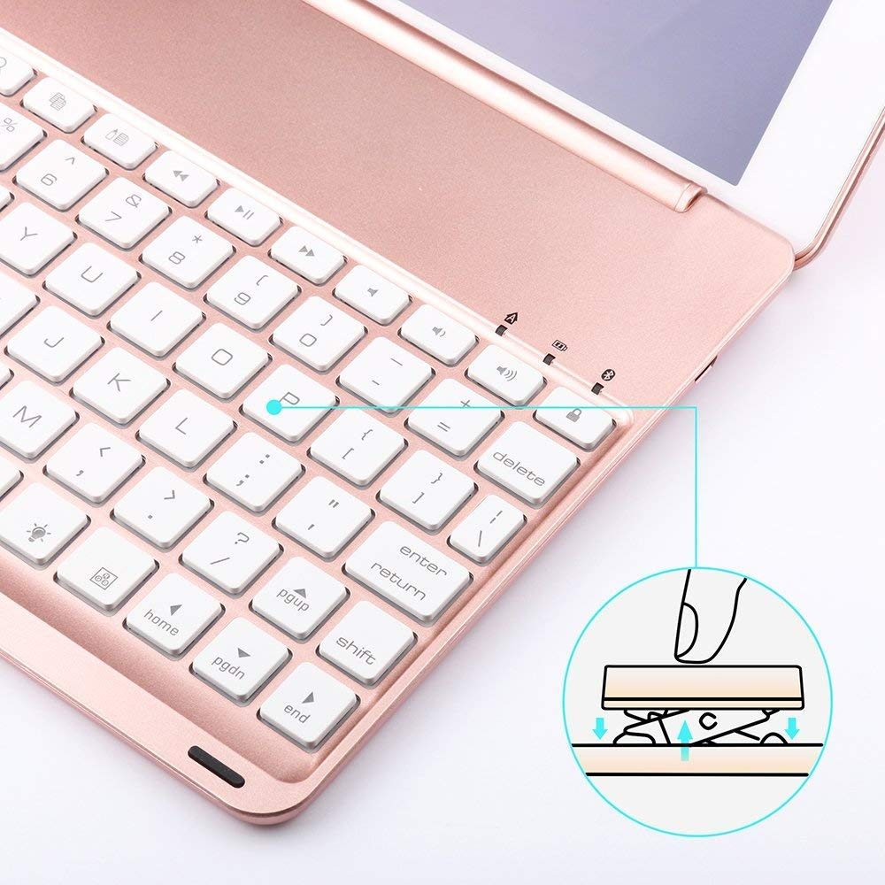 Aluminio Dingrich Funda Bluetooth inal/ámbrico 7 LED retroiluminado Funda Teclado iPad Pro 11 2018 Funda de Teclado