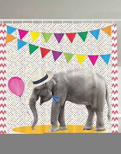 [Elephant Shower Curtain Decor Cute Party Festival Funny Decorations Balloons Lines of Bunting Colorful Polka Dots Chevron Pattern Fancy Animal Decor Bathroom Fun Coral Yellow Blue Green Gray] (Elephant Bunting Costumes)