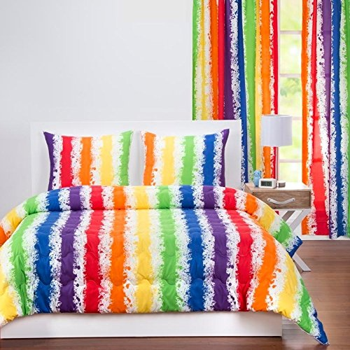 3 Piece Kids Multi Rainbow Stripes Pattern Comforter Full Queen Set, Beautiful Boho Chic Colorful Brush Paint Stripe-Inspired Design, Fun Print Reversible Bedding, Splash Pop Colors, Plush Microfiber