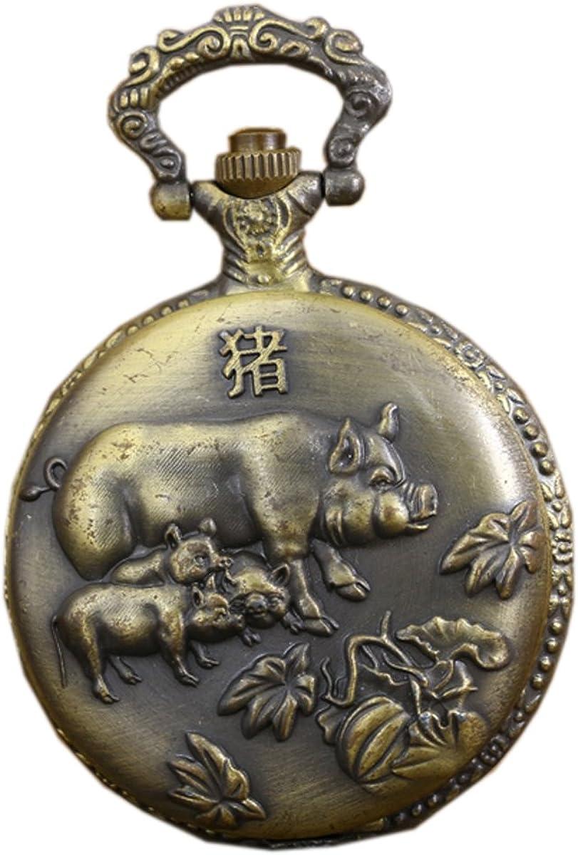 Relojes de Bolsillo Antiguos de la Vendimia con el Reloj de Cadena de Cobre Amarillo del Fob del Cuarzo del Cerdo del Zodiaco