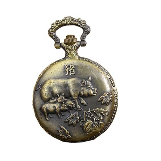 Relojes de bolsillo antiguos de la vendimia con el reloj de cadena de cobre amarillo del Fob del cuarzo del cerdo del zodiaco: Amazon.es: Relojes