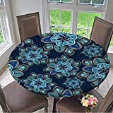kitchen 67 restaurant Mikihome Simple Modern Round Table Cloth Wallpaper Pattern with Flowers on a Background of Wavy Lines Decoration for Gifts for Daily use, Wedding, Restaurant 67