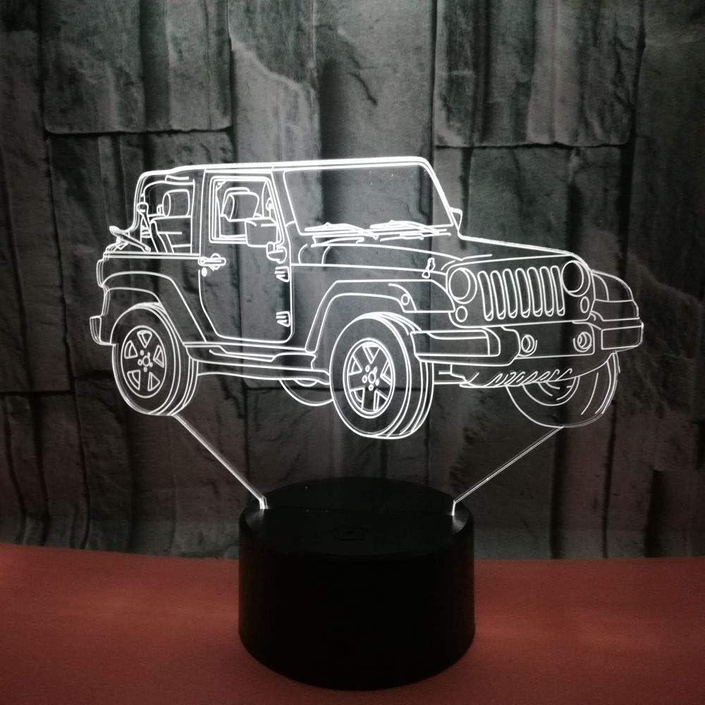 Solo 1 pieza Nuevo vehículo todoterreno 3d Luz nocturna Usb 7 colores Táctil Led Lámpara de escritorio Visual Luz Regalo Lámpara de mesa tive