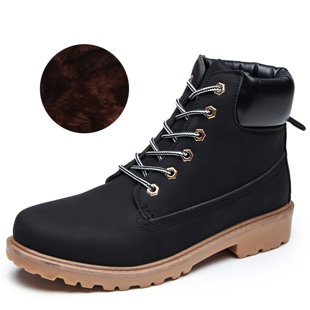 Herren Martin Stiefel Winter Warm Komfort PU-Leder Schuhe Kurzschaft Stiefel  Stiefeletten-TAIYCYXGAN  43 EU|Schwarz