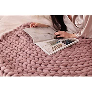 HomeModa Studio Super Chunky Knit Blanket, Merino Wool Blanket, Extrem Knitting, Chunky Blanket, Giant Super Chunky Knit Blanket (Blush Pink, Bed blanket-47.2x59inches-120x150cm)