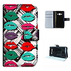 Z130H case, SoloShow(R) Samsung Z130H 4.0 inch case Deluxe High Quality PU Leather Wallet Flip case, Sexy Lips& Kiss Pattern (kiss)